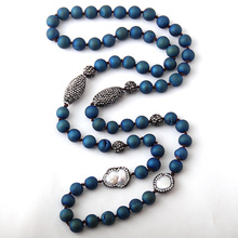 Fashion Blue Druzy Beads Knotted Halsband Handmake Paved Natural Stone and Pearl Beads Necklace(China)