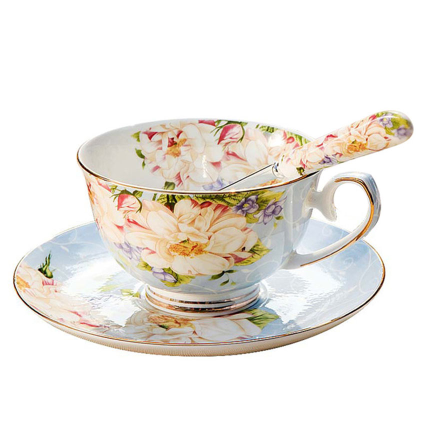 Creative European Rose Flower Bone China Porcelain Coffee Cup And Saucer Gold Rimmed Floral