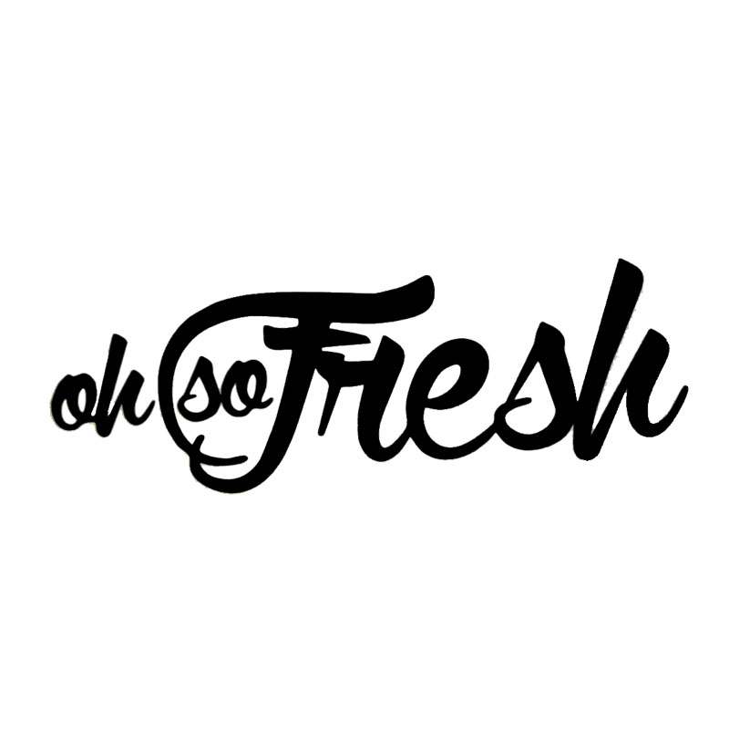 13.3*5CM OH SO FRESH Vinyl Cute Car Decals Fashion Car Body Simple Words Stickers Accessories Black/Silver C9-0077