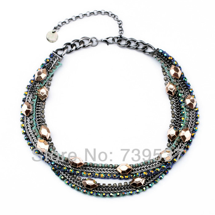2017 Vintage Style Women Double Layers Crystal Luxury Necklace Free Shipping