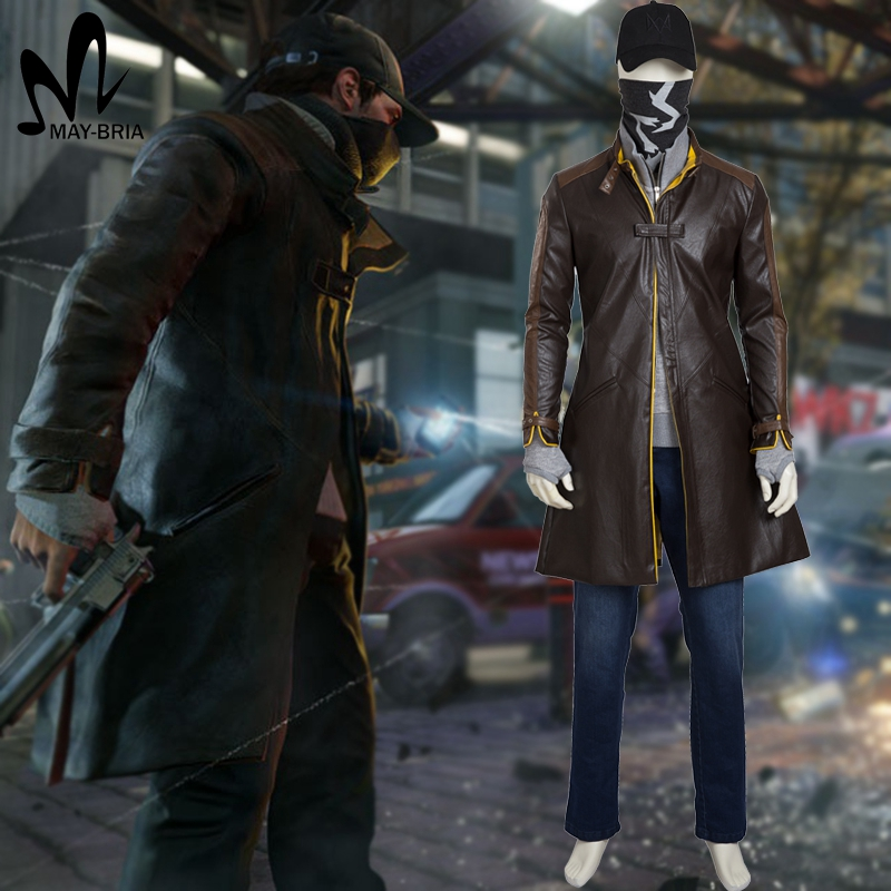 watch dogs Aiden Pearce cosplay costume popular game watch dogs whole suit for adult Carnival Halloween costumes custom made