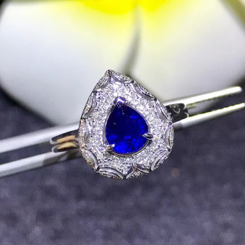 gemstone jewelry factory wholesale classic luxury 18k yellow gold real diamond natural blue sapphire gold ring for women wedding 2