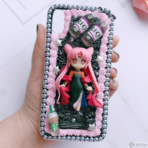 Image 2 - Pour Samsung S9/10 plus + étui bricolage note8/note9 3D marin lune couverture de téléphone Galaxy s8/s9 + s6/s7 bord à la main crémeux étui fille cadeaux