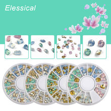 ELESSICAL Nail Decoration Wheel Colorful Cone 3D DIY Tips Drill Nails Charms Horse Eyes Round Opal Rhinestones For Nail Manicure(China)