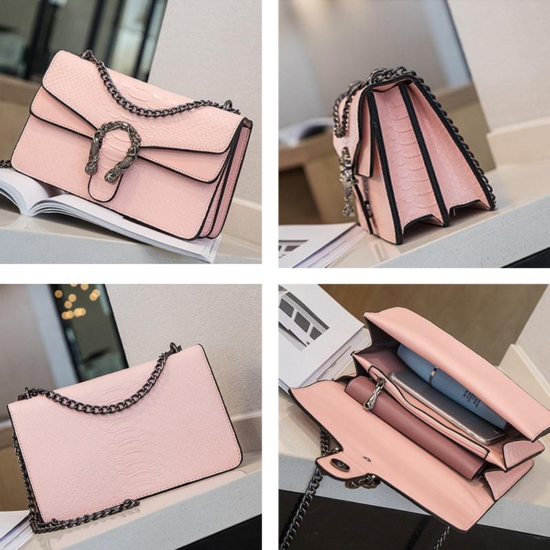 Image 4 - NEW Snake Fashion Brand Women Bag Alligator PU Leather Messenger Bag Designer Chain Shoulder Crossbody Bag Women Handbag-in Shoulder Bags from Luggage & Bags