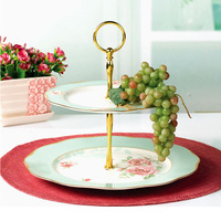 YeFine Striped Design Ceramic Dessert Plates Double layer Snacks Pastry Dishes Bone China Fruit And Cake Tray