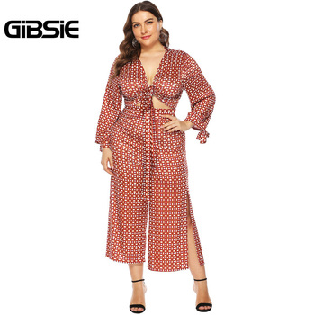 GIBSIE Plus Size V-Neck Knot Front Crop Top and Pants Set Women Long Sleeve Casual Two Piece Set Female Print High Waist Pants
