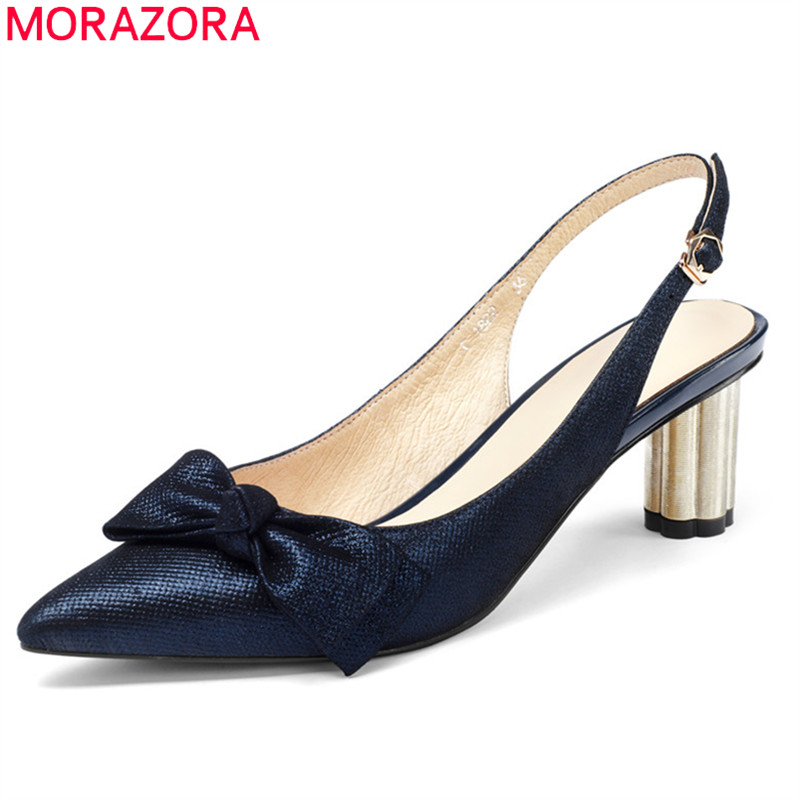 MORAZORA 2018 genuine leather shoes pointed toe women sandals bowknot buckle party wedding shoes square high heels shoes woman morazora 2018 new women sandals summer sweet bowknot comfortable buckle spike high heels platform shoes peep toe shoes woman