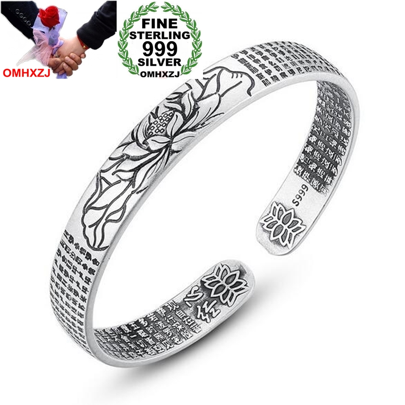 OMHXZJ Wholesale Ethnic For Man Woman Child Gift Lotus Heart Sutra 999 Sterling Silver Thai Silver Bracelet Open Adjustable SZ51