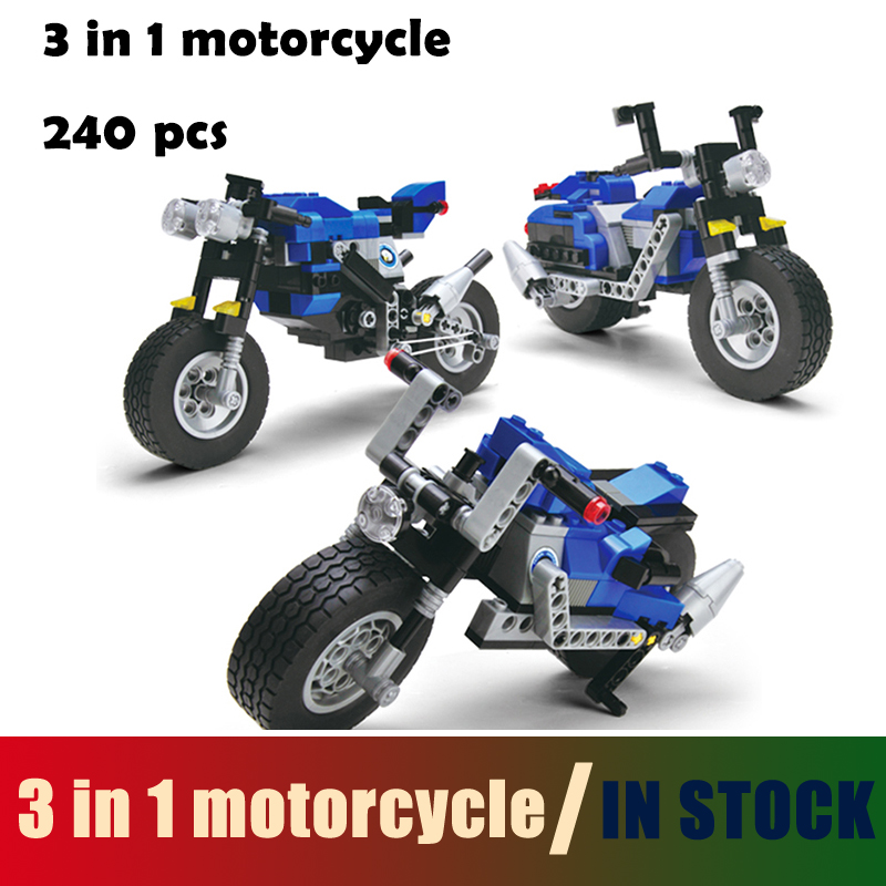 Compatible with lego city Model building kits 3 in 1 motorcycle 3D blocks Educational model & building toys hobbies for children