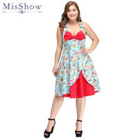 New Women Cocktail Dresses 2019 Plus Size Floral Print Pin Up Halter Vintage Dress Retro 50s Rockabilly Party Feminino Vestidos