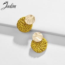 JOOLIM Cute Yellow Pink White Ratten Knitt Piercing Earring Medium Beach