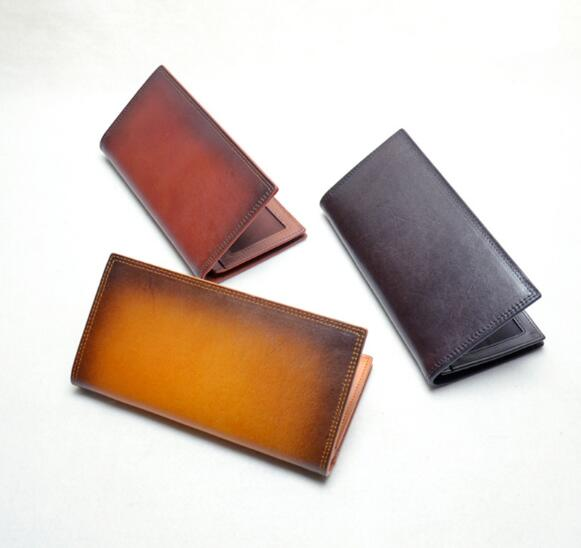 2018 vintage handmade genuine leather men soft long purse card holder