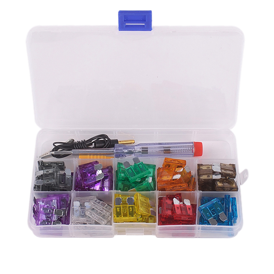 hight resolution of 100pcs box multicolor blade fuse assortment auto car truck boat motorcycle fuse 2a 3a 5a 7 5a 10a 15a 20a 25a 30a 35a test pen in fuses from automobiles