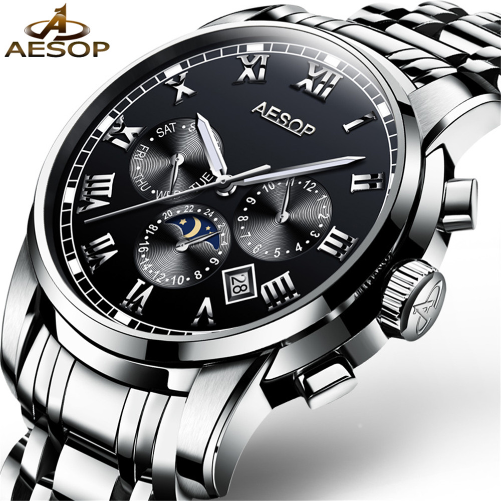 AESOP Automatic Mechanical Watch Men Luxury Brand Mens Watches Stainless steel  Wristwatches Waterproof Moon phase relogioAESOP Automatic Mechanical Watch Men Luxury Brand Mens Watches Stainless steel  Wristwatches Waterproof Moon phase relogio