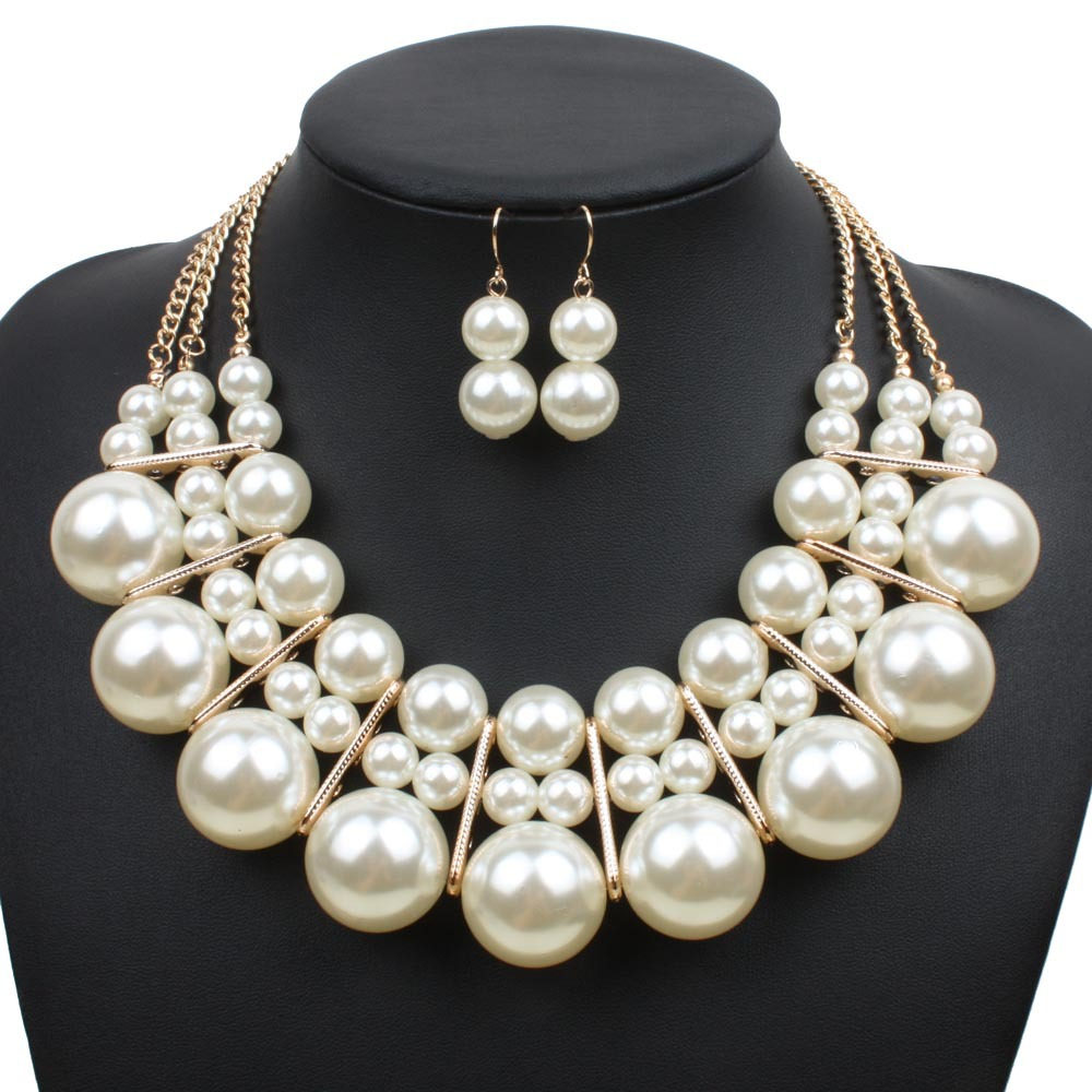 Classic Fashion Peal Jewelry Sets For Women Engagement: Big Pearl Jewelry Set Multilayer Necklaces Fashion