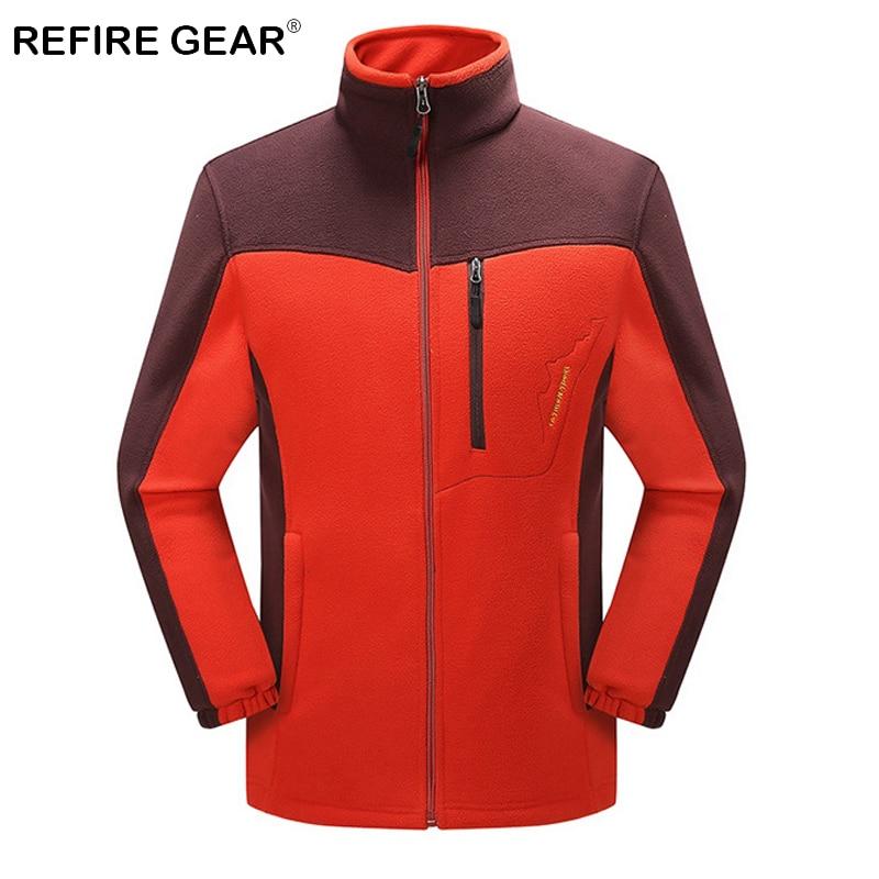 ReFire Gear Winter Thermal Outdoor Camping Fleece Jackets Men Patchwork Warm Travelling Climbing Coat Sport Skiing Hiking Jacket