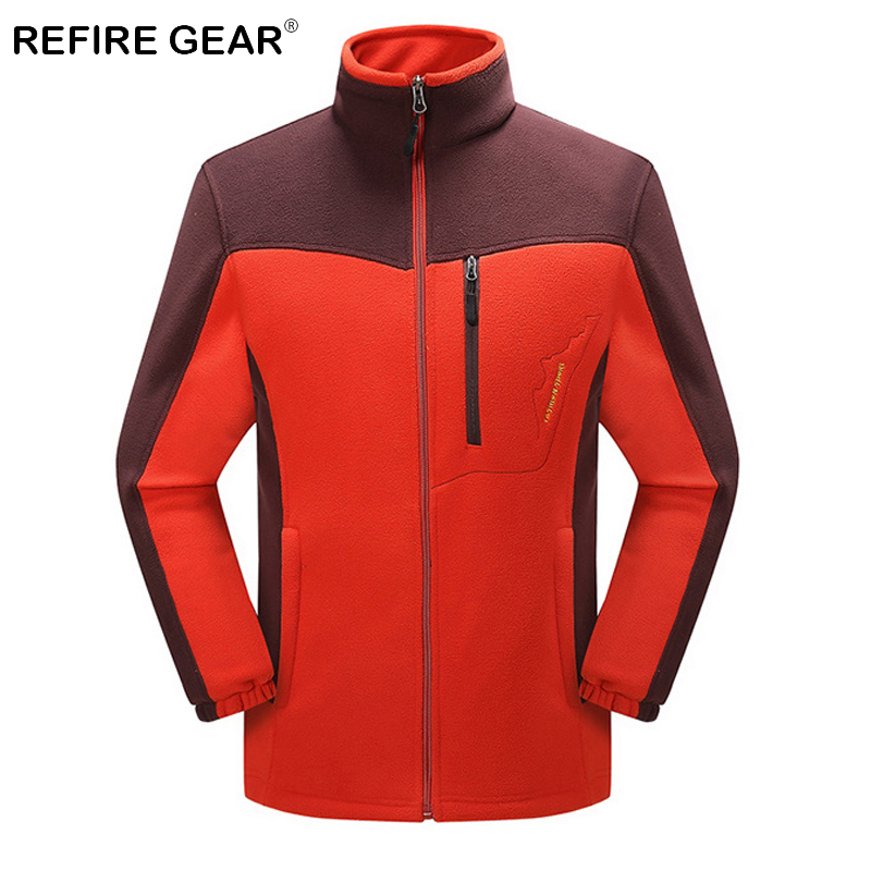 ReFire Gear Winter Thermal Outdoor Camping Fleece Jackets Men Patchwork Warm Travelling Climbing Coat Sport Skiing Hiking Jacket