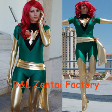 Free Shipping DHL Jean Grey Costume X-Men Phoenix Lycra Spandex Green and Shiny Metallic Gold Superhero Zentai Catsuit Halloween