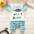 Hot In the Summer Of 2016 Hot Style Boy Children Suit Sets Girls Fashion Cotton Short Sleeve T-shirt + Shorts Exempt Postage