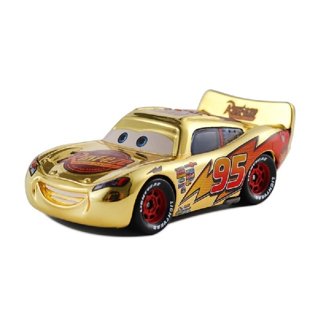 Brinquedo metálico dourado McQueen carros 3, presentes para crianças, mcqueen, espelhado, disney