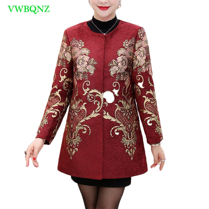 Middle-aged Women Windbreaker Coat Spring Autumn Printing   Trench   Coats Noble Womens Single-breasted Plus size Overcoats 5XL A434