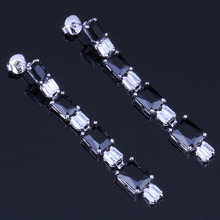 Wonderful Rectangle Black Cubic Zirconia White CZ 925 Sterling Silver Drop Dangle Earrings For Women V0203