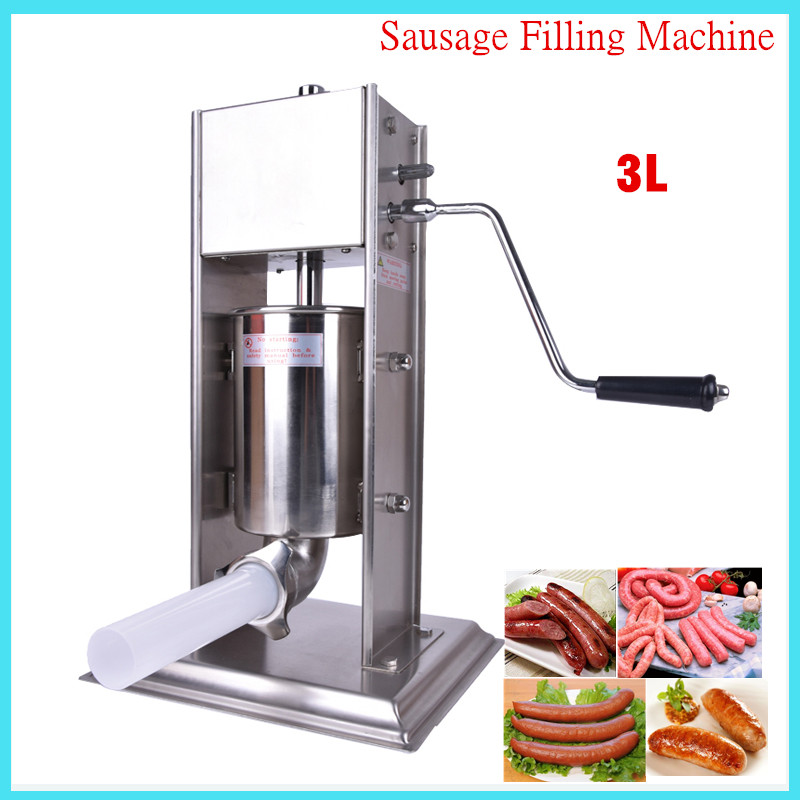 3L hand operated home sausage meat stuffer stainless steel manual vertical sausage filling machine kitchen tool ship from germany 5l stuffer maker machine commercial sausage filling machine sausage stainless steel with 4 filling pipes
