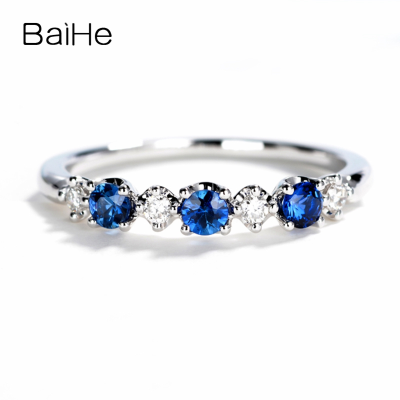 BAIHE Solid 14K White Gold Certified 2.5mm Round Cut 100% Genuine Natural Sapphires Anniversary Women Trendy Elegant unique RingBAIHE Solid 14K White Gold Certified 2.5mm Round Cut 100% Genuine Natural Sapphires Anniversary Women Trendy Elegant unique Ring