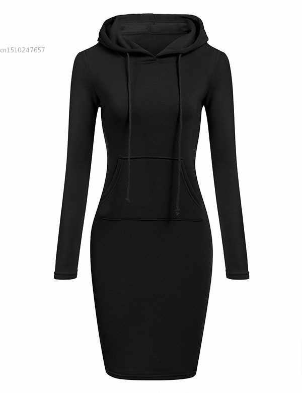 Женское сексуальное платье из хлопка с круглым вырезом и длинным рукавом, черное Элегантное повседневное платье vestido, облегающее платье с капюшоном