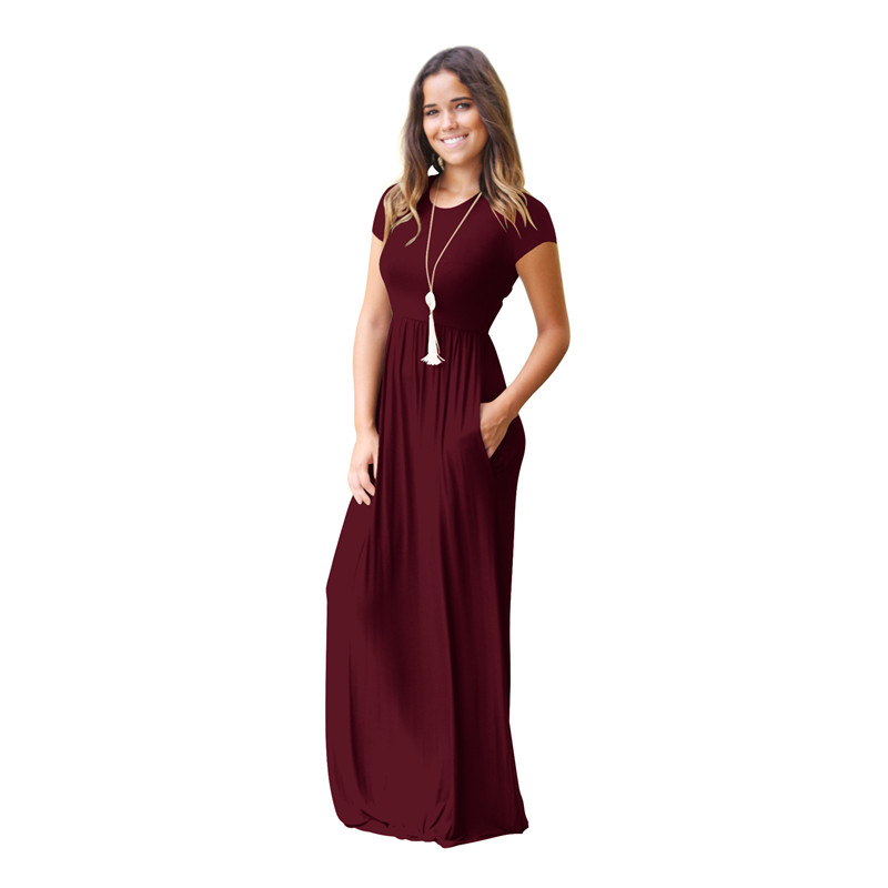 Women's Short Sleeve Loose Plain Maxi Dresses Casual Long Dresses with Pockets 4