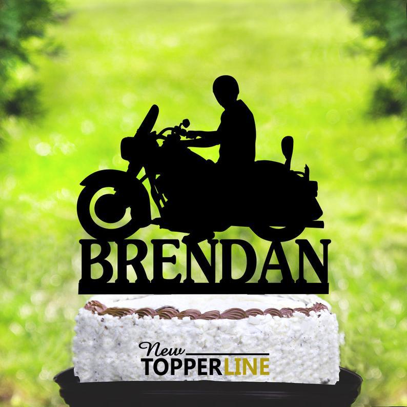 Fine Birthday Biker Cake Topper Motorcycle Birthday Topper Harley Funny Birthday Cards Online Fluifree Goldxyz