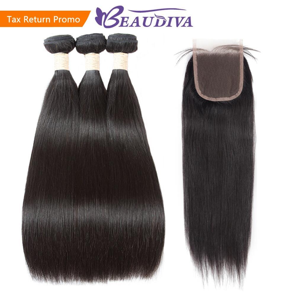 Beaudiva Hair Straight Hair Bundles With Closure Human Hair 3 Bundles With Closure Brazilian Hair Weave
