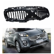 цена на EXTERIOR AUTO FRONT MESH MASK TRIMS COVERS FRONT BUMPER ABS MODIFIED GRILL GRILLS FIT FOR KIA SPORTAGE KX5 AUTO GRILLE 2015-2018