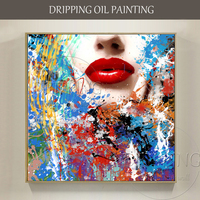 Artist Hand painted Colorful Graffiti Face Oil Painting on Canvas Pop Art Vivid Colors Abstract Portrait Graffiti Oil Painting