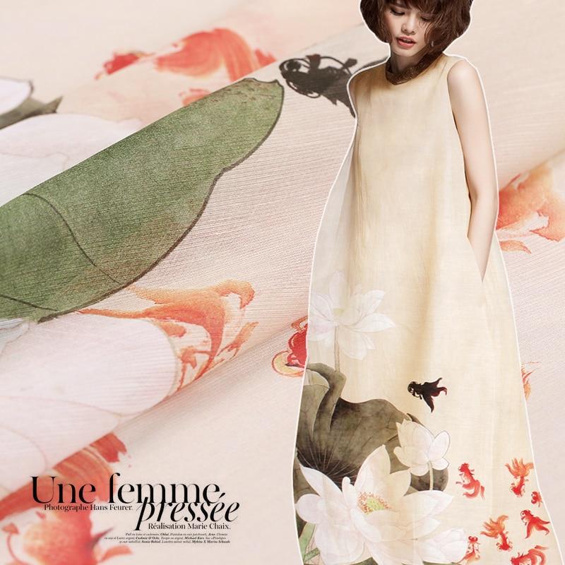 140*118 cm 1 st goede real zijde/ramee stof digitale lotus gedrukt moerbei zijde stoffen naaien materiaal voor diy jurk kleding