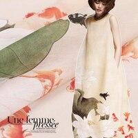 140*118cm 1pc Good Real Silk/Ramie Fabric Digital Lotus Printed Mulberry Silk Fabrics Sewing Material For DIY Dress Clothing