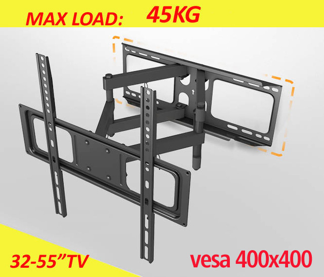 Universal 6 arm double arm full motion 40kg 55inch 42inch retractable led tv wal