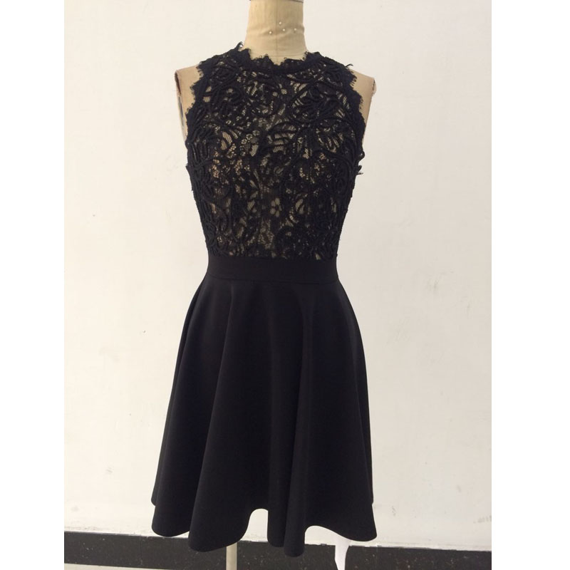 a32b44801c IDress 2017 Summer Women s Dresses Wholesale Sexy Crochet Lace Pleated  Skater Dress Black White Patchwork Casual