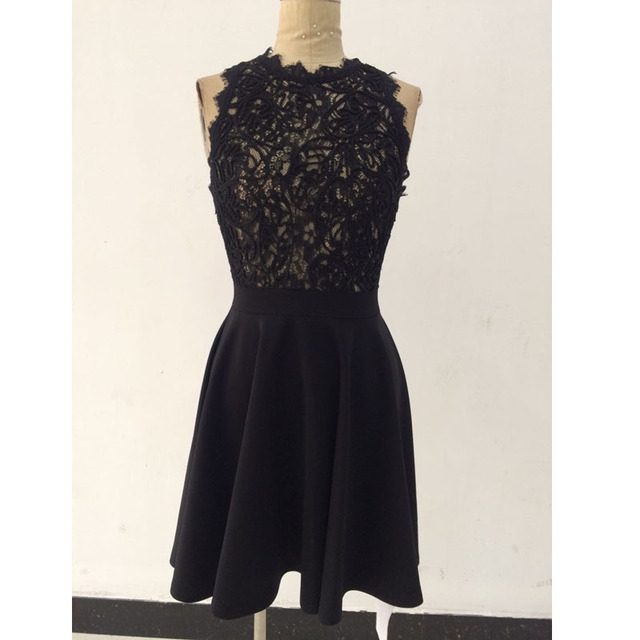 3c94dc3f86 IDress 2017 Summer Women s Dresses Wholesale Sexy Crochet Lace Pleated  Skater Dress Black White Patchwork Casual Lace Dresses