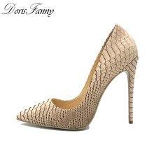 72881f37e DorisFanny Luxo Designer 12 cm/10 cm/8 cm de salto Stiletto Bombas de  mulheres de salto alto tamanho grande Bege sapatos