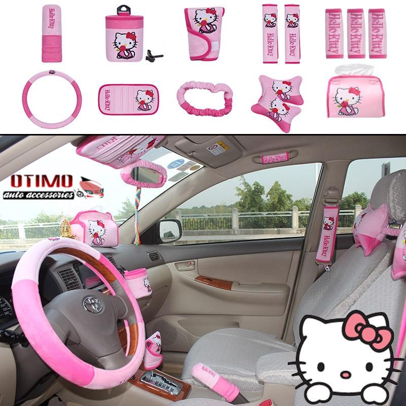 1set 14pcs cute hello kitty comfortable car seat covers - Hello kitty car interior accessories ...