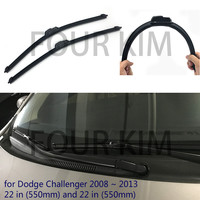 For Dodge Challenger 2008 2013 Car Windscreen Wiper Frameless U J Hook Soft Rubber All Weather