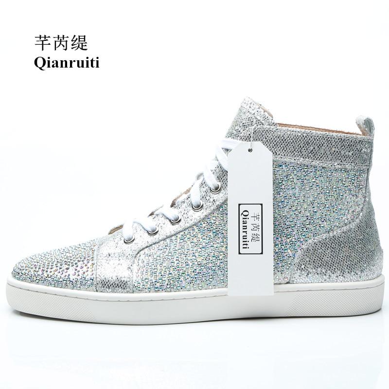 Qianruiti 2018 Autumn Men Shiny Crystal Sneaker Lace-up Silver Glitter Flat  Rhineston High Top e9abed99d5ce