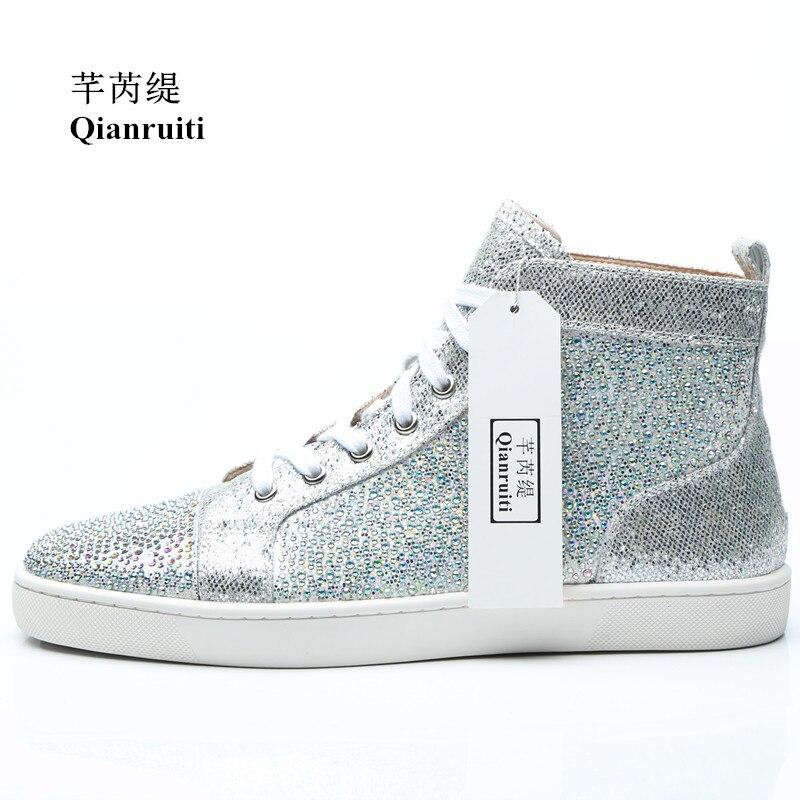 Detail Feedback Questions about Qianruiti 2018 Autumn Men Shiny Crystal Sneaker  Lace up Silver Glitter Flat Rhineston High Top Shoes Men Runway Chaussure  ... 6e1e021e1c7a