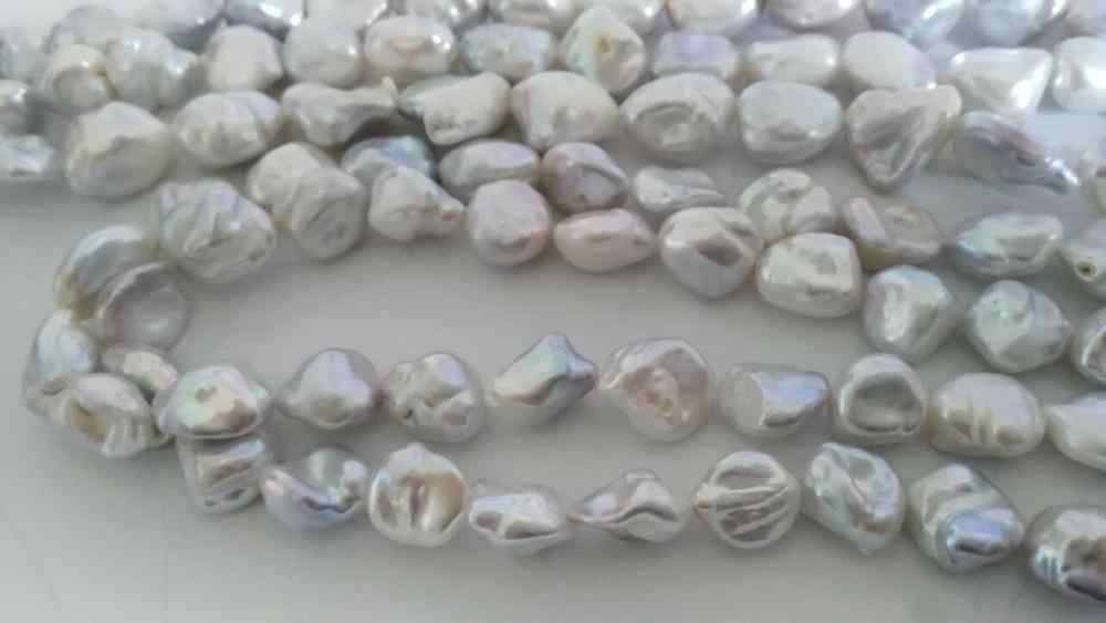 Великолепная 12-13 мм природный южных морей серебристо-серый кеши жемчужина necklace38inch (9.13)