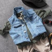 Baby Cowboy Vest 2017 Spring Clothes   Catamite Children's Garment Children Holes Vest Loose Coat Wt-7555