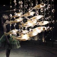 Roman kreatives kristall glas fliegende fische kronleuchter für restaurant wohnzimmer esszimmer decor|Deckenleuchten|   -