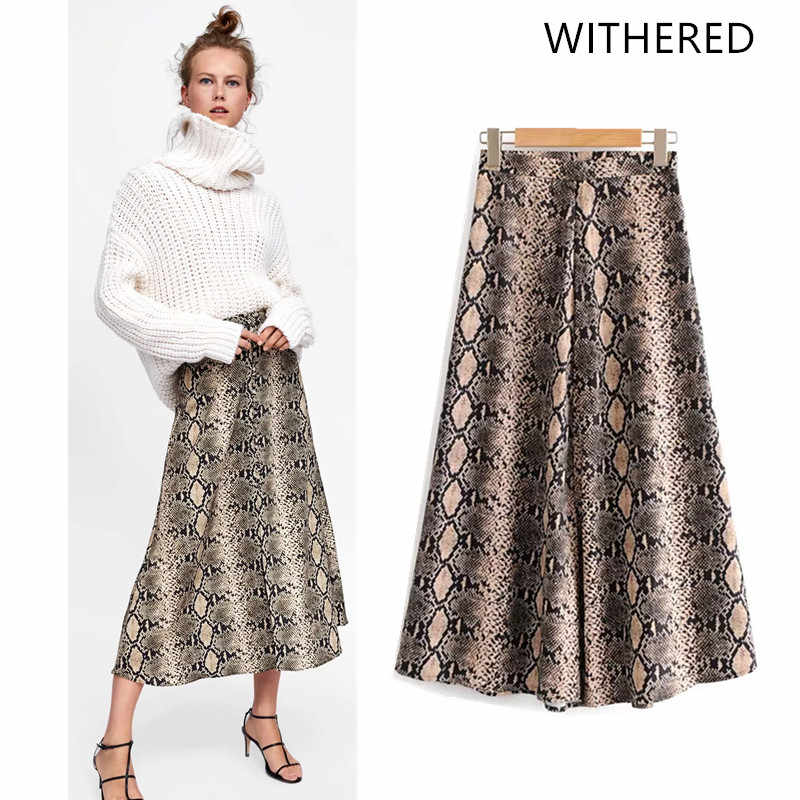 e47b395bcaf8 Withered 2018 BTS skirt women england style pirnt serpentine snake skin  zipper fly straight natural skirts
