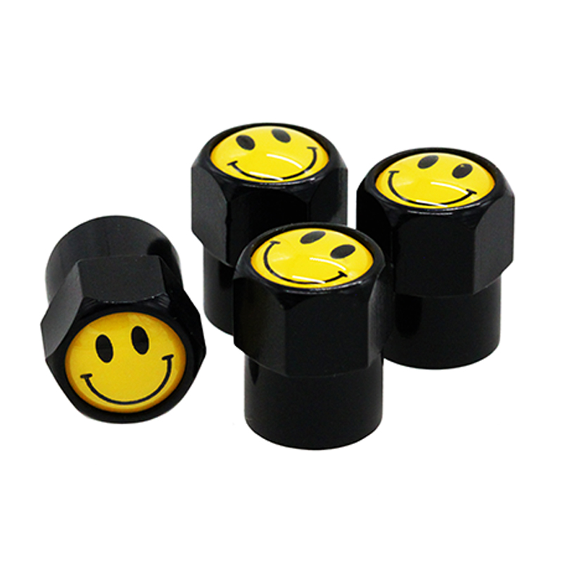 HAUSNN Smile Smiling Face Logo Valve Caps Car Wheel Tires Accessories Stems Covers Auto Styling For Mazda Nissan Honda VW BMW